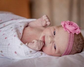 Baby Girl Headband, Shabby Chic Baby Headband, Newborn Headband, Vintage Pink & Mauve Headband, Toddler Headband, Baby Photos Headband