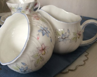 Vintage Queens CLAIRE Milk Jug/Creamer and Sugar Bowl Set.  Fine Bone China. Made in England.