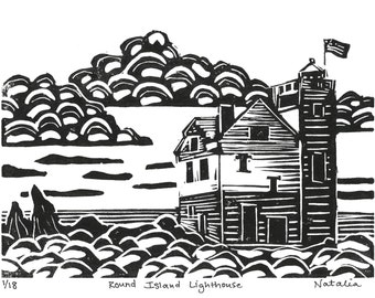 Round Island Lighthouse Linoleum Print