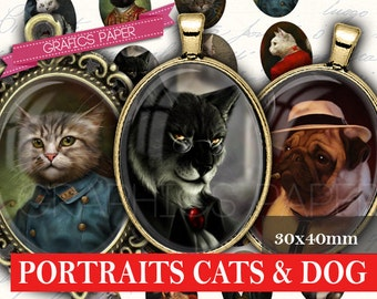 Portraits of cats and dogs clothes - digital collage sheet - OV92 - 30x40mm ovals - Printable oval Images Glass & Resin, Images for pendant