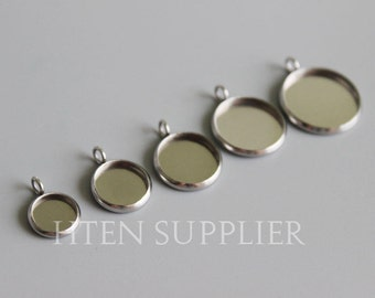 50pcs  stainless steel Round pendant setting,pendant trays, Bezel Pendant Blanks 6mm 8mm 10mm 12mm 14mm 16mm 18mm