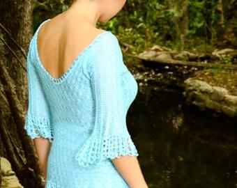 Blouse aquemarine low neck/ silk crochet top handmade