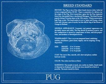 Pug Portrait / Pug Art / Pug Wall Art / Pug Print / Pug Gift