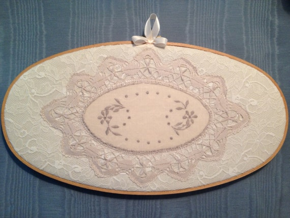 Sale large lace oval embroidery hoop home decor art