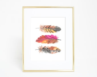 Feather Print, Feather Art, Wall Printables, Feather Watercolor, Pink Feathers, Bohemian Wall Art, Feather Artwork, Magenta Art Print