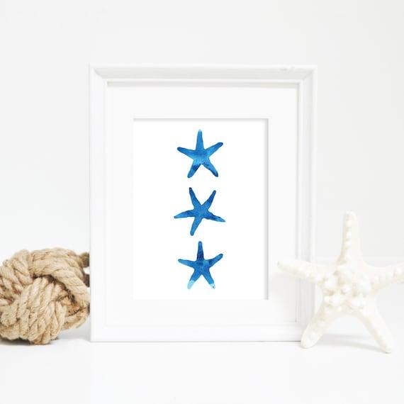 Blue Starfish Print, Nursery Print, Watercolor Wall Art, Nautical Decor, Beach Decor, Starfish Wall Art, Watercolor Print, Printable Art