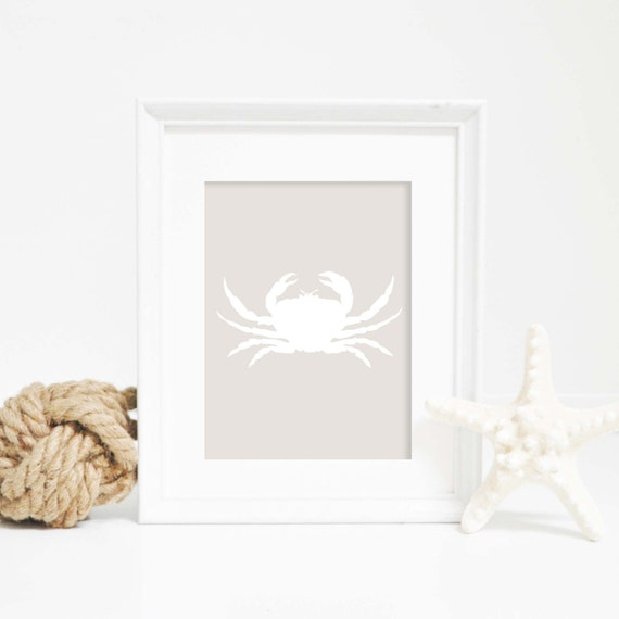Wall Art, Crab Art Print, Nautical Print, Nautical Decor, Beach House Decor, Bathroom Decor, Digital Print, Crab Art Print, Printable Art