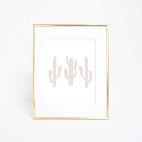 Cactus Wall Art, Neutral Prints, Beige Print, Cactus Print, Downloadable Art, Printable Wall Art, Home Decor, Modern Prints, Wall Decor