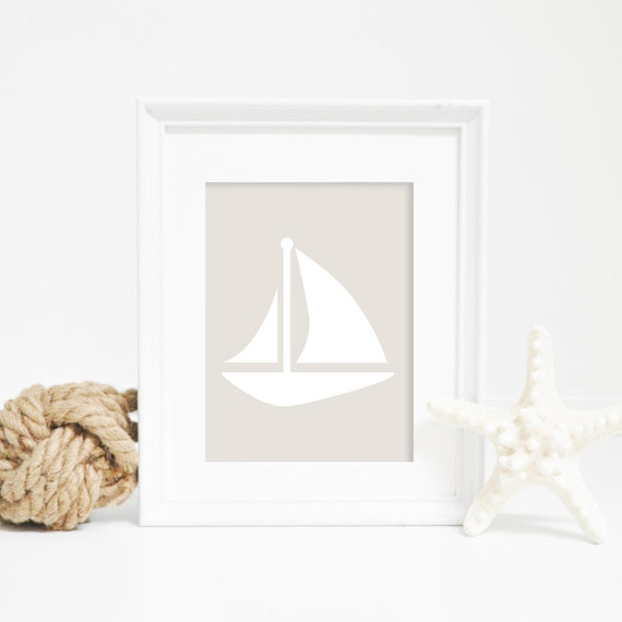 Sailboat Print, Nautical Wall Art, Nautical Decor, Neutral Print, Wall Art Print, Digital Prints, Downloadable Art, Sailboat Art, Sail Boat