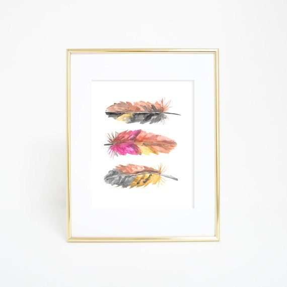 Feather Art Print, Watercolor Feathers, Feather Wall Art, Feather Print, Watercolor Print, Watercolor Decor, Pink Feathers, Nursery feathers