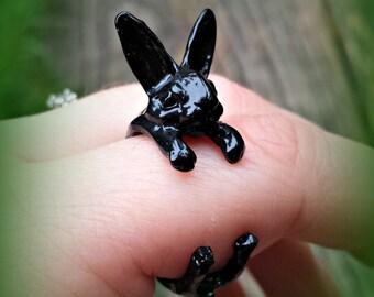 Black Rabbit Ring - Adjustable Bunny Ring - Animal Ring