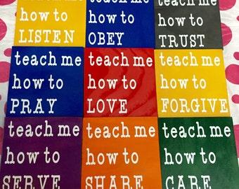 Teach Me-9 Panel Wall Hanging/Teacher Gift/Classroom Decor/Classroom Wall Hanging/Christian Gift/Sunday School Classroom Decor/Church Decor