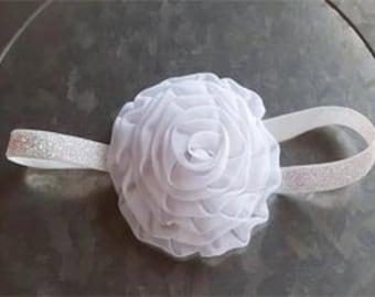 White Chiffon Rose Flower Headband Photo Prop