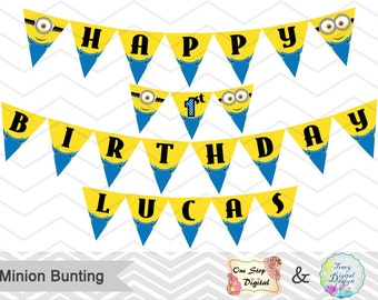 Instant Download Minions Bunting, Printable Minions Banner, Minions Birthday Party Banner, Printable Minions Party Banner, 00006
