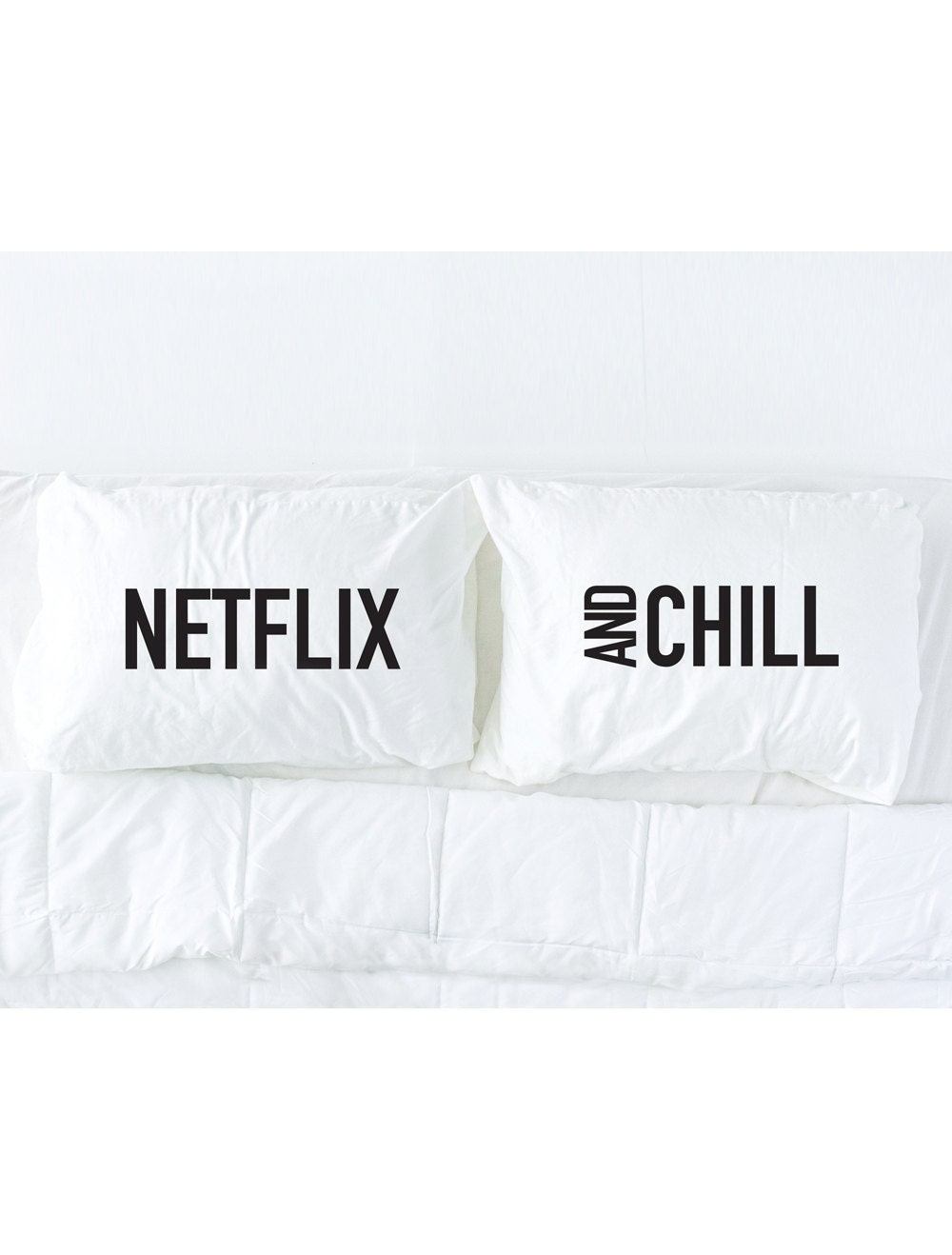 netflix and chill pillowcase set in black dorm bedding his - 🔎zoom