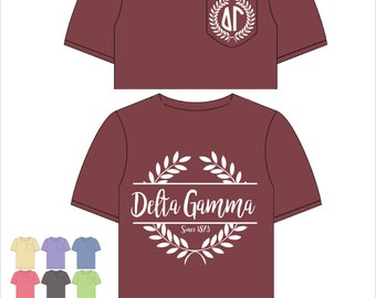 Delta Gamma  // DG // Sorority Comfort Color Pocket Tee (Nobilis)  Short Sleeve Tshirt // Greek Apparel // Choose Your Color