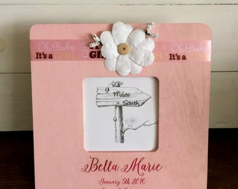 Frame, Birth Announcement Frame, Baby Girl Frame, It's a Girl Frame
