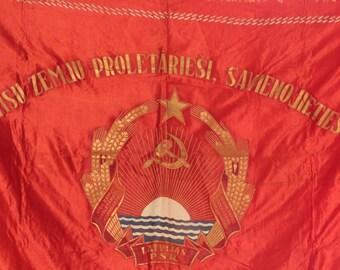 "Rare Vintage Flag Original Red Banner ""Emblem the Latvian SSR""166 х 113 Soviet ж"