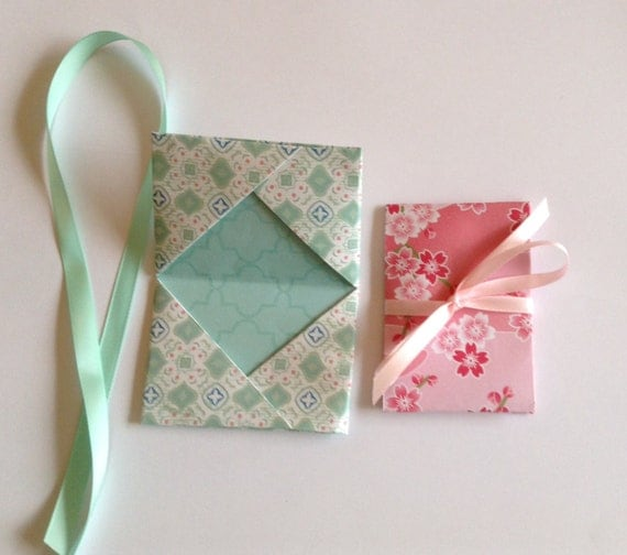 2 Origami patterned gift card holders with ribbon money - photo#9