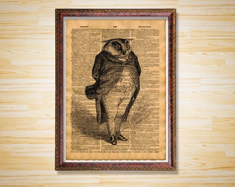 Animal poster Antique dictionary page Gentleman owl art print