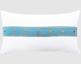 Vintage Songket Trim Pillow - White / Sky Blue
