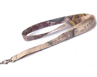 World Map Lanyard. Key Lanyard. Fabric Lanyard. ID Holder. Fashion Accessories. Fashion Gifts. Etsy Gifts. Gifts For Traveler.