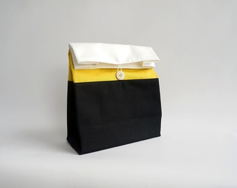 Adult lunch bag / Reusable lunch bag / Washable food bag / Yellow and black striped lunch bag / Lunch bag for men / Sac a lunch