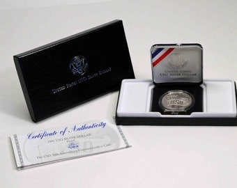 1991 USO Silver Dollar proof U.S. commemorative coin, United States coin, U.S. Mint