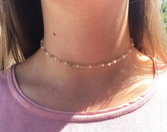 CAROLINE Choker * BEADED CHOKER Necklace * Tiny Labradorite Beads * Neutral* Trendy * Rosary Chain * Delicate * Dainty * Simple * Minimal