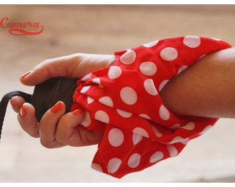 Wrist Scarf Camera Strap - Red and White Polka Dots, 10-14 inches, Camera Strap, Wrist Strap, Photography