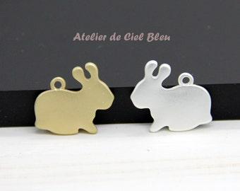 Rabbit Charm, Bunny Charm, Matt Gold Rabbit Charm, Matt Silver Rabbit Charm, Matt Gold Bunny Charm, Matt Silver Bunny Charm, Bunny Pendant