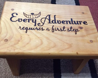 Custom wood burned kids stool.