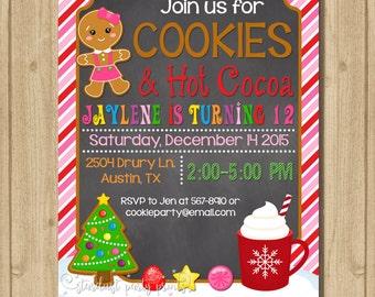 Cookie decorating birthday invitation, Cookies and Hot Cocoa invitation, cookie invitation, christmas invitation
