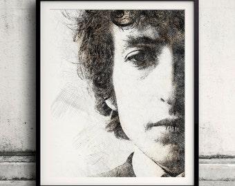 Bob Dylan portrait 02 in pen & watercolor - Fine Art Print Glicee Poster Gift Illustration Artist Poster - SKU 1925