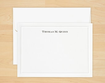 Embossed Border Correspondence Cards - Personalized Stationery