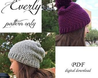 Everly Beanie Crochet Pattern / Adult Beanie Crochet Pattern / Adult Toque Crochet Pattern