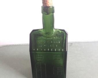 Vintage Green Glass E C Booz's Old Cabin Whiskey Bottle With Cork Barware Liquor Bottle