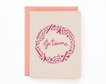 Je t'aime Valentine Greeting Card