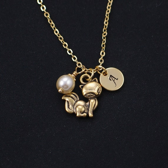 initial necklace fox necklace Swarovski pearl choice gold