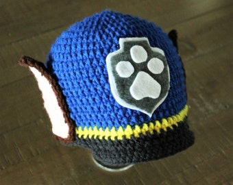 Chase Paw Patrol Hat - Handmade to Order - Newborn to Adult