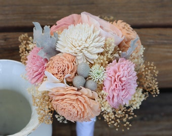 Pink Peach bouquet, wedding bouquet, bridal bouquet, bridesmaid bouquet, alternative bouquet