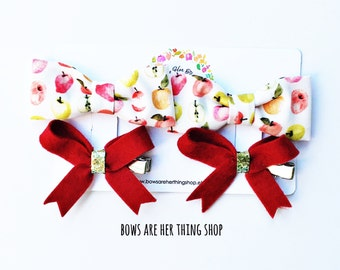APPLES pig tail bow set or single bow set