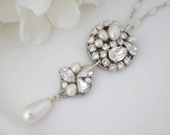 Art Deco bridal necklace, Vintage pendant necklace, Swarovski statement necklace