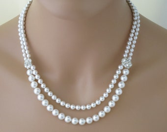 Multi strand pearl necklace, Swarovski pearl bridal necklace, Double strand pearl wedding necklace