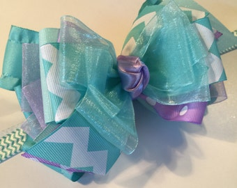 Easter bow~Aqua and lavender stacked bow ~polka dot / chevron bow~spring bow~baby bow~ toddler bow