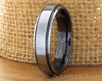 Tungsten Wedding Band Black And White Brushed Stepped Edges Mens Anniversary Ring Promise Ring For Her Comfort Fit 5-15 Sizes FREE Engraving