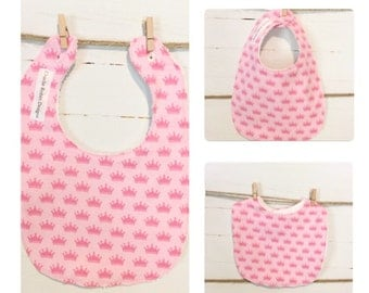Pink crown bib / girls / baby / princess / pink / crowns / cute /