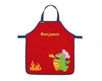 Personalized Fiery Monster Quilted Kids Apron