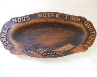Vintage French religious bread BOARD TRAY DISH Hand carved wood . Signed by the artist N1