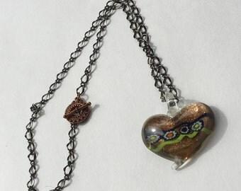 Copper Handblown Glass Heart Pendant on Black Chain